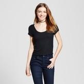 Mossimo Women's Henley Baby T-Shirt Black