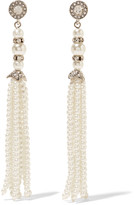 Kenneth Jay Lane Silver-tone crystal and faux pearl earrings