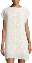See by Chloe Lace-Print Cap-Sleeve Shift Dress, Off White