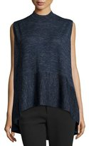 Co Sleeveless Mock-Neck Sweater, Indigo