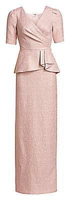 Teri Jon by Rickie Freeman Women's Metallic Jacquard Peplum Gown