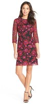 Adrianna Papell Women's Floral Embroidered Mesh Sheath Dress