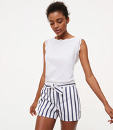 LOFT Striped Tie Waist Riviera Shorts
