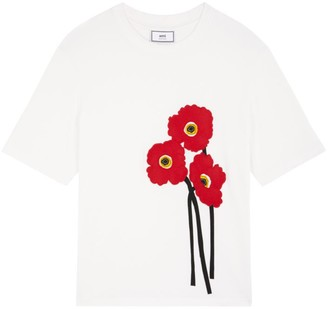 Ami Paris Poppies Embroidered T-Shirt