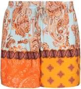 Esteban Cortazar multicolored paisley print shorts orange