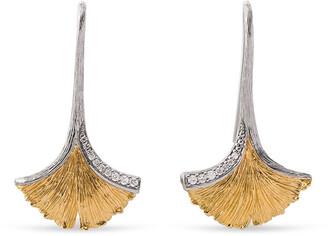Michael Aram Butterfly Ginkgo Leaf Drop Earrings with Diamonds