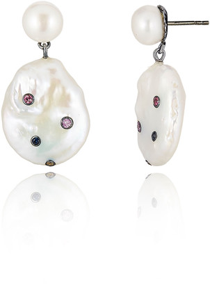 MCL by Matthew Campbell Laurenza Pearl & Sapphire Dangle Earrings