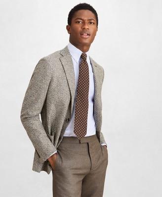 Brooks Brothers Golden Fleece Wool-Blend Houndstooth Brown Sport Coat