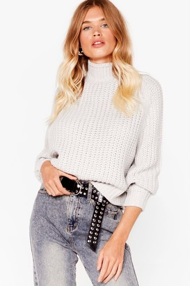 Nasty Gal Womens Stay With Knit Ribbed Turtleneck Jumper - Grey - S