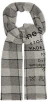 Acne Studios Cassiar Logo-print Checked Virgin Wool Scarf - Womens - Grey