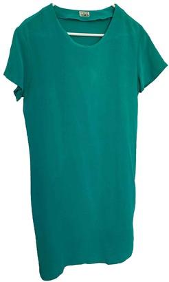 Closed Green Silk Dress for Women