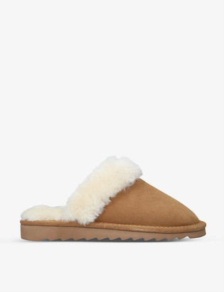Kurt Geiger Cosy suede and faux-shearling slippers