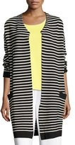 Joan Vass Striped Long Sweater Coat