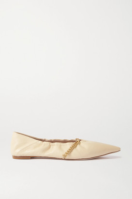 PORTE & PAIRE Chain-embellished Leather Point-toe Flats - Beige