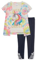 Forever Me Girls' 4-12 Unicorn Graphic Top, Tye-Dye Cozy and Knit Denim Legging, 3-Piece Outfit Set
