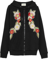 Gucci Embroidered Printed Cotton-jersey Hooded Top - Black