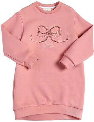 Fendi Embellished Bow Cotton Sweatshirt Dress