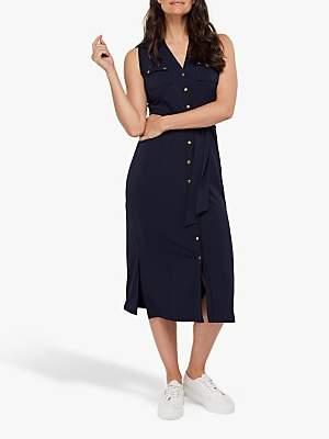 Monsoon Bianca Jersey Button Down Dress, Navy