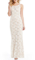 Jump V-Back Long Sequin Lace Dress