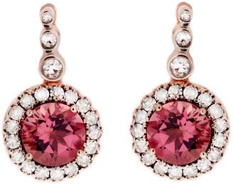 Selim Mouzannar Pink Tourmaline and Diamond Frame Rose Gold Drop Earrings