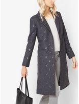 Michael Kors Paisley-Embroidered Wool-Melton Coat