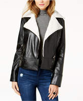 GUESS Branson Faux-Shearling-Collar Moto Jacket