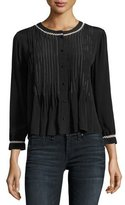 Velvet Nana Pintuck Shirt with Contrast Stitching, Black
