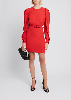 Givenchy Twisted-Sleeve Belted Mini Dress