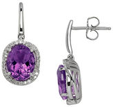Lord & Taylor Amethyst, Diamond and Sterling Silver Drop Earrings