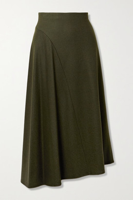 Vince Asymmetric Wool-blend Midi Skirt - Dark green