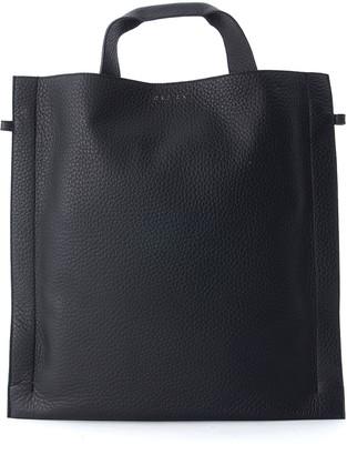 Orciani Black Tumbled Leather Bag