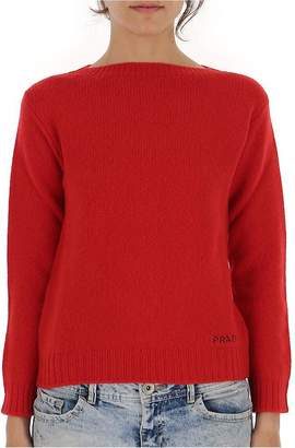 Prada Logo Embroidered Boat-Neck Sweater