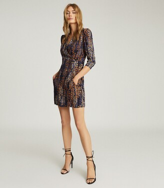 Reiss Esmerelda - Printed Wrap Front Dress in Navy Print