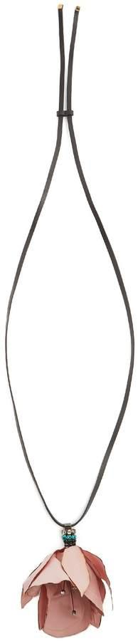Marni Flower-pendant leather necklace