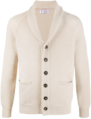 Brunello Cucinelli Ribbed Shawl-Collar Cardigan
