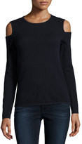 Neiman Marcus Cashmere Cold-Shoulder Pullover Sweater, Navy