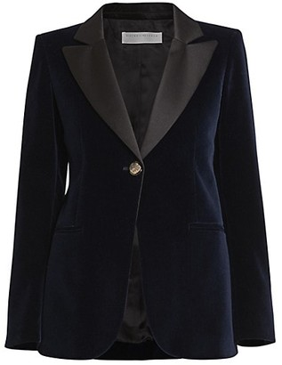 Victoria Beckham Single Breasted Fitted Velvet Jacket