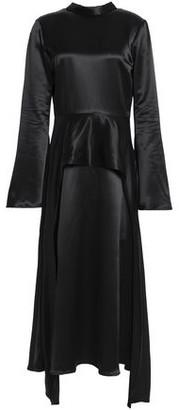 Beaufille Bolina Draped Satin Peplum Midi Dress