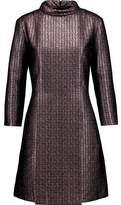 A.P.C. Metallic Pleated Tweed Turtleneck Dress