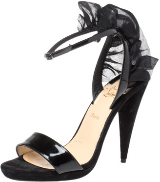 Christian Louboutin Black Suede and Patent Leather Jacqueline Ankle Strap Sandals Size 36.5