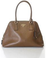 Prada Brown Leather Medium Saffiano Lux Dome Satchel Handbag EVHB