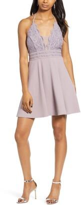 Speechless Halter Neck Lace & Scuba Crepe Minidress