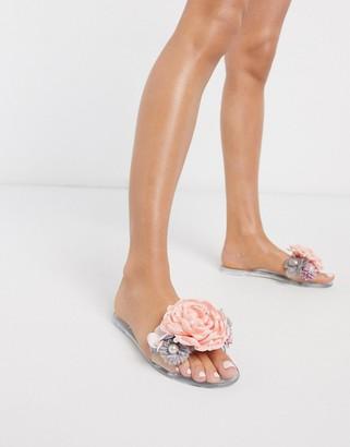 Asos DESIGN Florist pearl jelly sliders