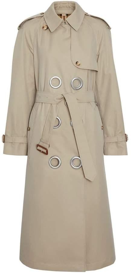 Burberry Grommet Detail Cotton Gabardine Trench Coat