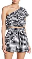 Do & Be Do + Be One Shoulder Checkered Tassel Trim Top