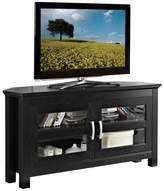 Walker Edison 44 Corner Wood TV Stand with Glass Doors, Black, 24H x 44W x 16D