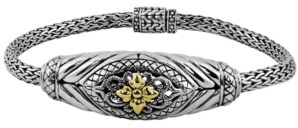 Devata Bali Heritage Classic Bracelet with Dragon Bone Chain in Sterling Silver and 18k Yellow Gold Accents