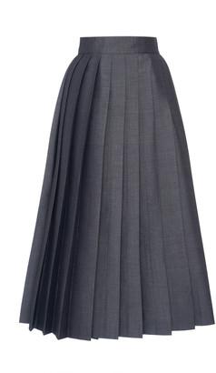 Prada Pleated Tie Back Mohair Wool Midi Skirt