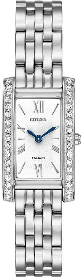 Citizen Eco-Drive Women's Silhouette Crystal Jewelry Stainless Steel Bracelet Watch 18x32mm EX1470-51A