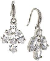 Carolee Silver-Tone Marquise Crystal Cluster Drop Earrings